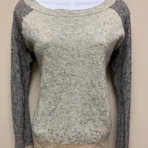 J Crew Waffle  Sweater Sz L Shirt Gray Tan A9957